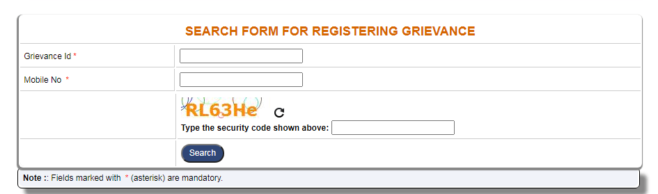SEARCH FORM FOR REGISTERING GRIEVANCE