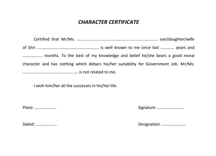 up police character certificate format